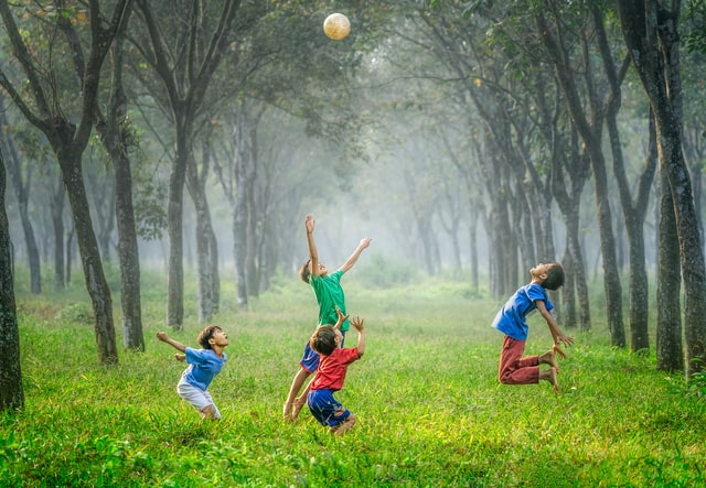 children playing in the nature