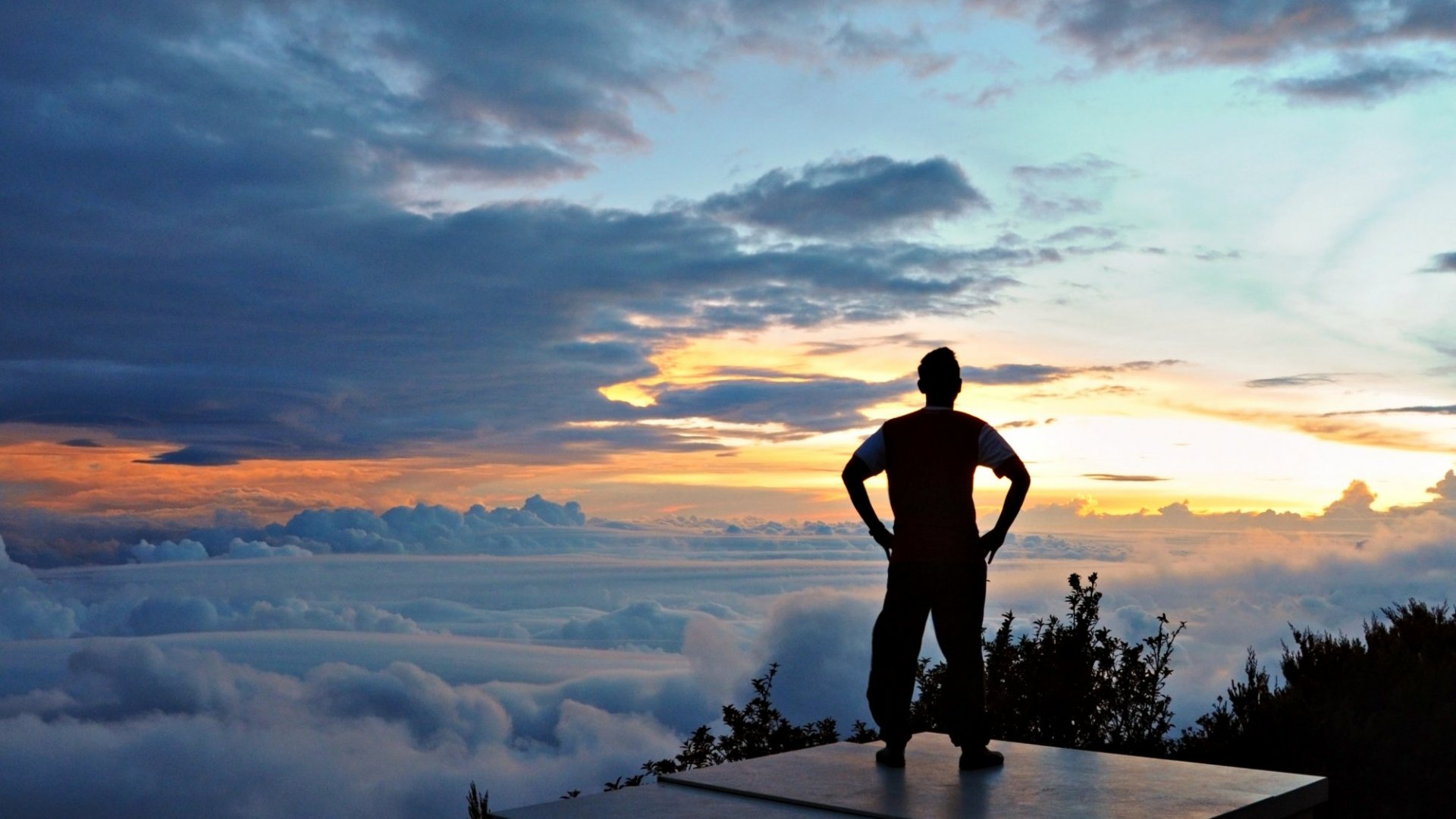 man standing in mountain