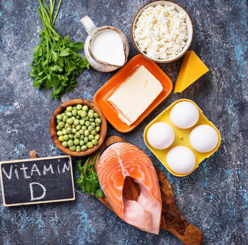 tuna, egg, diary, peas and Vitamin D